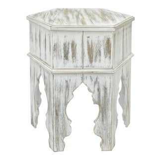Three Hands Wood Moroccan Inspired Accent Table In Distressed White Finish