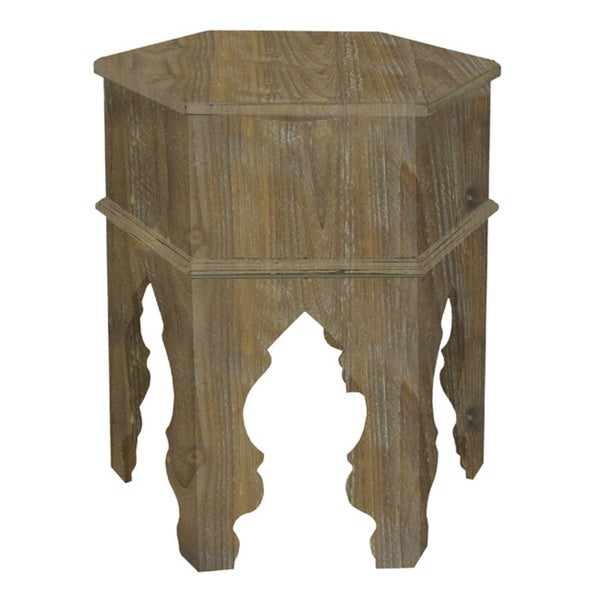 Three Hands Distressed White Wood Moroccan inspired Accent