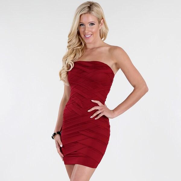 675236c1b79cb Shop NikiBiki Women's Dark Red Crisscrossing Tube Dress - Free ...