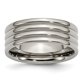Titanium Grooved 8mm Band