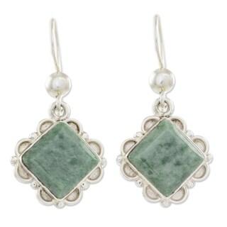 Handcrafted Sterling Silver 'Light Green Floral Diamond' Jade Earrings (Guatemala)