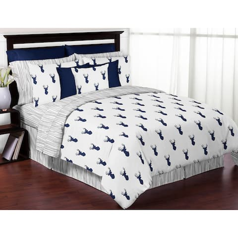 Sweet Jojo Designs Navy and White Woodland Deer 3-piece Full/ Queen-size Comforter Set