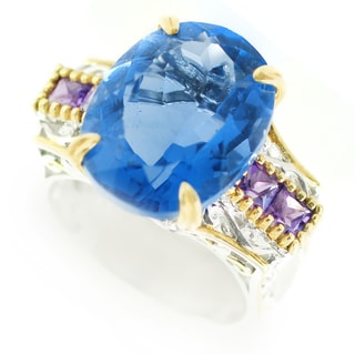One-of-a-kind Michael Valitutti Color Change Fluorite and African Amethyst Cocktail Ring