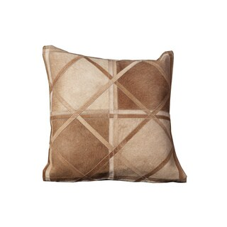Mina Victory Natural Leather and Hide Criss Cross Beige Throw Pillow (20-inch x 20-inch) by Nourison
