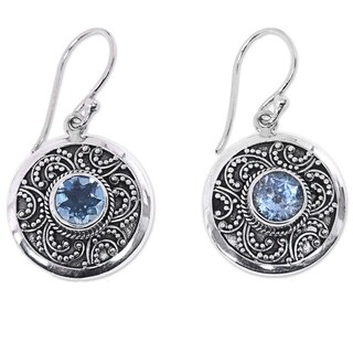 Handcrafted Sterling Silver 'Balinese Aura' Blue Topaz Earrings (Indonesia)