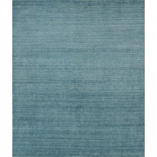 Pacific Rugs Baby Blue New Zealand Wool/Viscose Hand-loomed Rug (10' x 13')