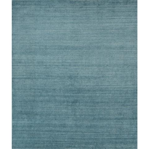 Urban Baby Blue New Zealand Wool/ Viscose Hand-loomed Rug - 9' x 12'