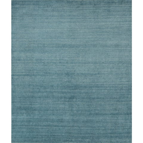 Hand-Loomed Urban Baby Blue New Zealand Wool & Viscose Blend - 7'10 x 9'10