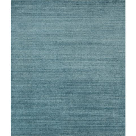 Hand-Loomed Urban Baby Blue New Zealand Wool & Viscose Blend - 8' x 10'