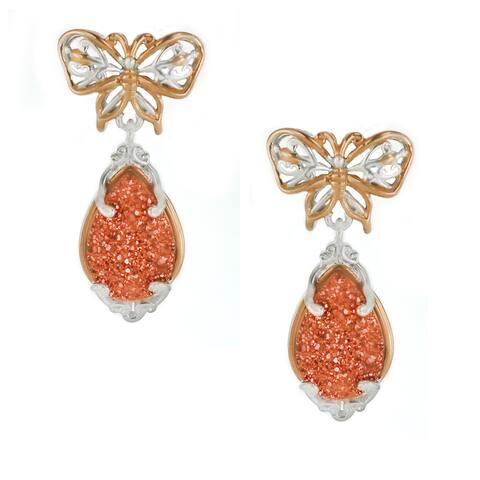 One-of-a-kind Michael Valitutti Copper Bloom Druzy Drop Earrings - Orange