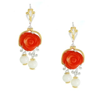 One-of-a-kind Michael Valitutti Salmon Bamboo Coral Carved Flowers with White Bamboo Coral Leverback Earrings