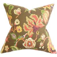 Chaya Floral Euro Sham Chocolate Brown