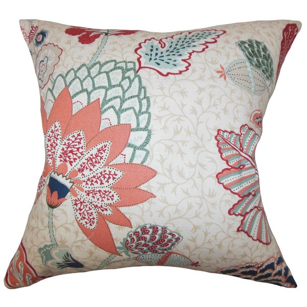 Ahna Floral Euro Sham Mint Red