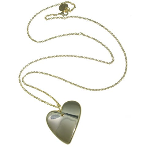 Isla Simone - 18 Karat Gold Electro Plated Long Necklace With Large Electroform Heart