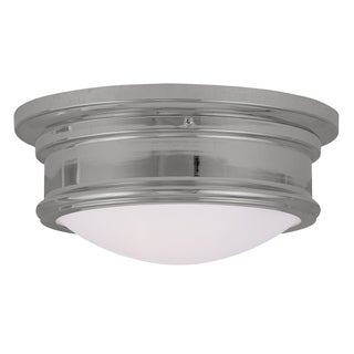 Livex Lighting Astor Chrome Steel and Glass 2-light Ceiling-mount Light Fixture