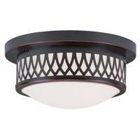 Livex Lighting Westfield Bronze Glass/Steel Ceiling Mount Light