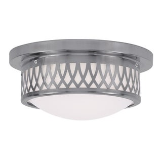 Livex Lighting Westfield Brushed-nickel Steel and Satin Opal White Glass Ceiling-mount Light Fixture