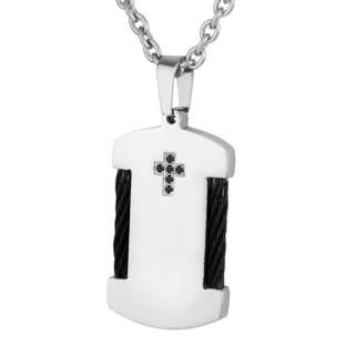 Men's Stainless Steel Braided Wire and Black Cubic Zirconia Dog Tag