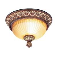 Livex Lighting Villa Verona Bronze/Gold-tone Steel/Glass Ceiling Mount Light