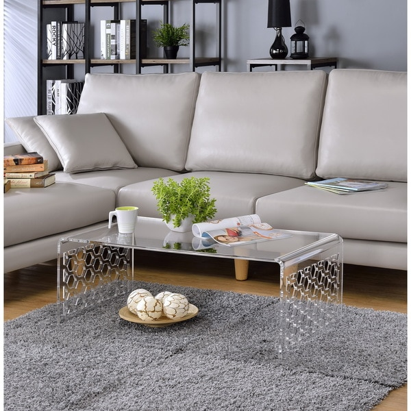 acrylic honeycomb design coffee table - free shipping today