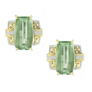 One-of-a-kind Michael Valitutti Prasiolite Bar Stud Earrings