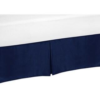 Sweet Jojo Designs Navy Blue and Orange Stripe Toddler Bedskirt