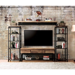 Furniture of America Herman Industrial Antique Black 60-inch TV Stand- 1 Piece