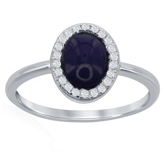 La Preciosa Sterling Silver Oval Lapis and CZ Ring