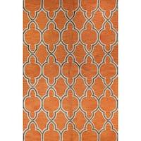 Aaliyah Grey/Orange Cotton Tufted Area Rug - 4' x 6'