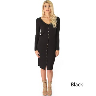 Long Button-Up Ribbed Cardigan