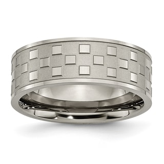 Titanium 8mm Satin and Checkered Band