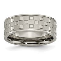 Chisel Titanium 8mm Satin and Checkered Band