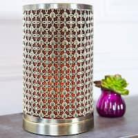 River of Goods Goldtone Metal 11-inch Rustic Laser-cut Geometric Uplight Accent Lamp