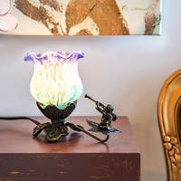 River of Goods Hand-painted Purple/ Light Blue Frosted Glass 6-inch Cherub Flower Tulip Accent Lamp
