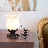 Bronze/White Handpainted Frosted Glass Cherub Tulip Accent Lamp