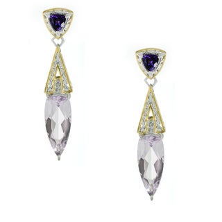 One-of-a-kind Michael Valitutti Pink Amethyst, African Amethyst and White Topaz Earrings