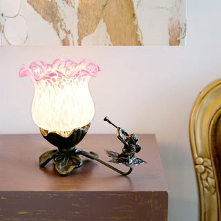 Cherub Pink and White 6-inch Flower Tulip Accent Lamp