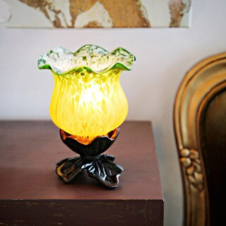 Green/Yellow Frosted Glass 6-inch Handpainted Tulip Uplight Accent Lamp