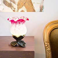 River of Goods Magenta and Light Blue Frosted Glass Handpainted Uplight Tulip Accent Lamp