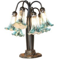 River of Goods Light Blue/Silver 18.5-inch High Hand-blown Mercury Glass 7-Lily Downlight Table Lamp