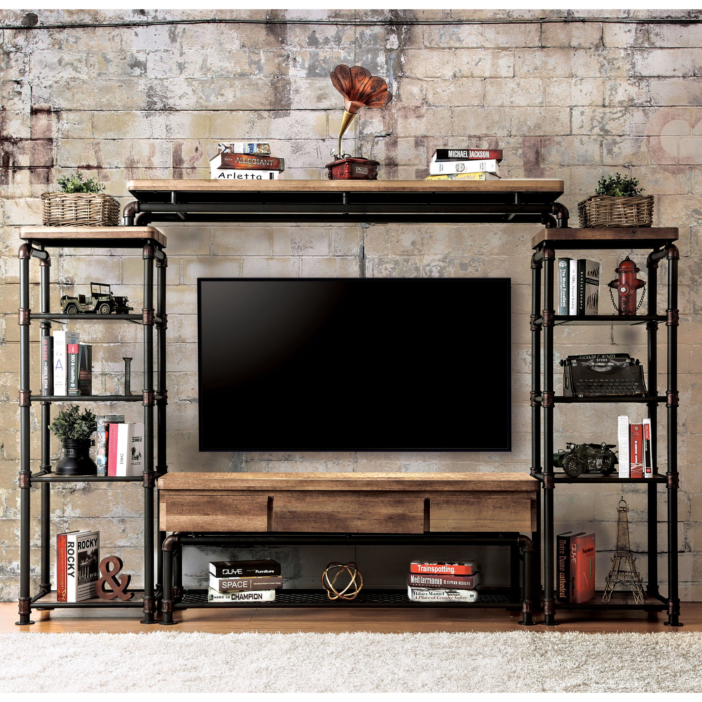 Superieur Herman Industrial Black 4 Piece Entertainment Center By FOA
