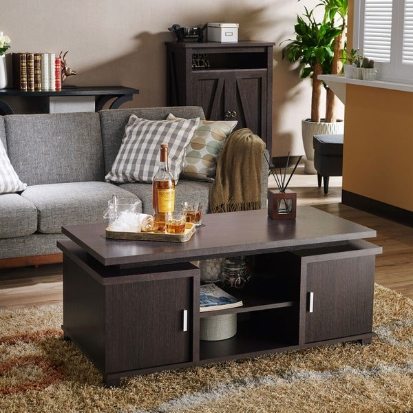 Furniture of America Mollens Contemporary Espresso Open Storage Coffee Table