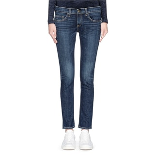 Rag and Bone Tomboy Blue Cotton Distressed Dark Wash Skinny Jeans
