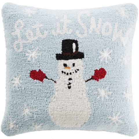 Townshend 18 in. Feather Down or Polly Filled Winter Snowman Holiday Throw Pillow