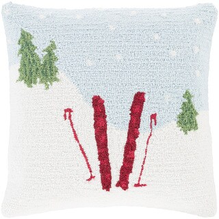 Tobey 18 in. Down or Polly Filled Winter Snowfall Holiday Throw Pillow (2 options available)