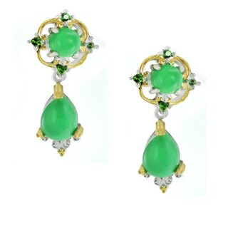 Michael Valitutti Variscite and Chrome Diopside Earrings