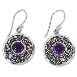 Handcrafted Sterling Silver 'Balinese Aura' Amethyst Earrings (Indonesia)