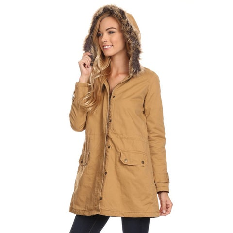 Women's Cotton/Polyester Coat with Fur Hoodie