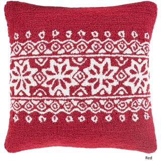 Decorative Thionville 18 in. Down or Polly Filled Holiday Throw Pillow (Option: Polyester - White/Pink)