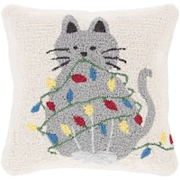 Thiais 18 in. Feather Down or Polly Filled Pussycat Holiday Throw Pillow